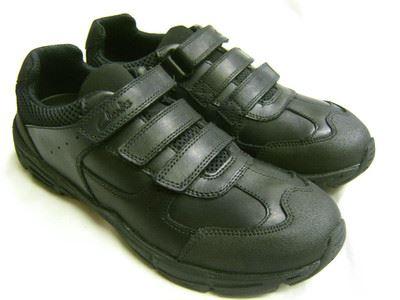 Clarks Mens Shoe Black Double Velcro