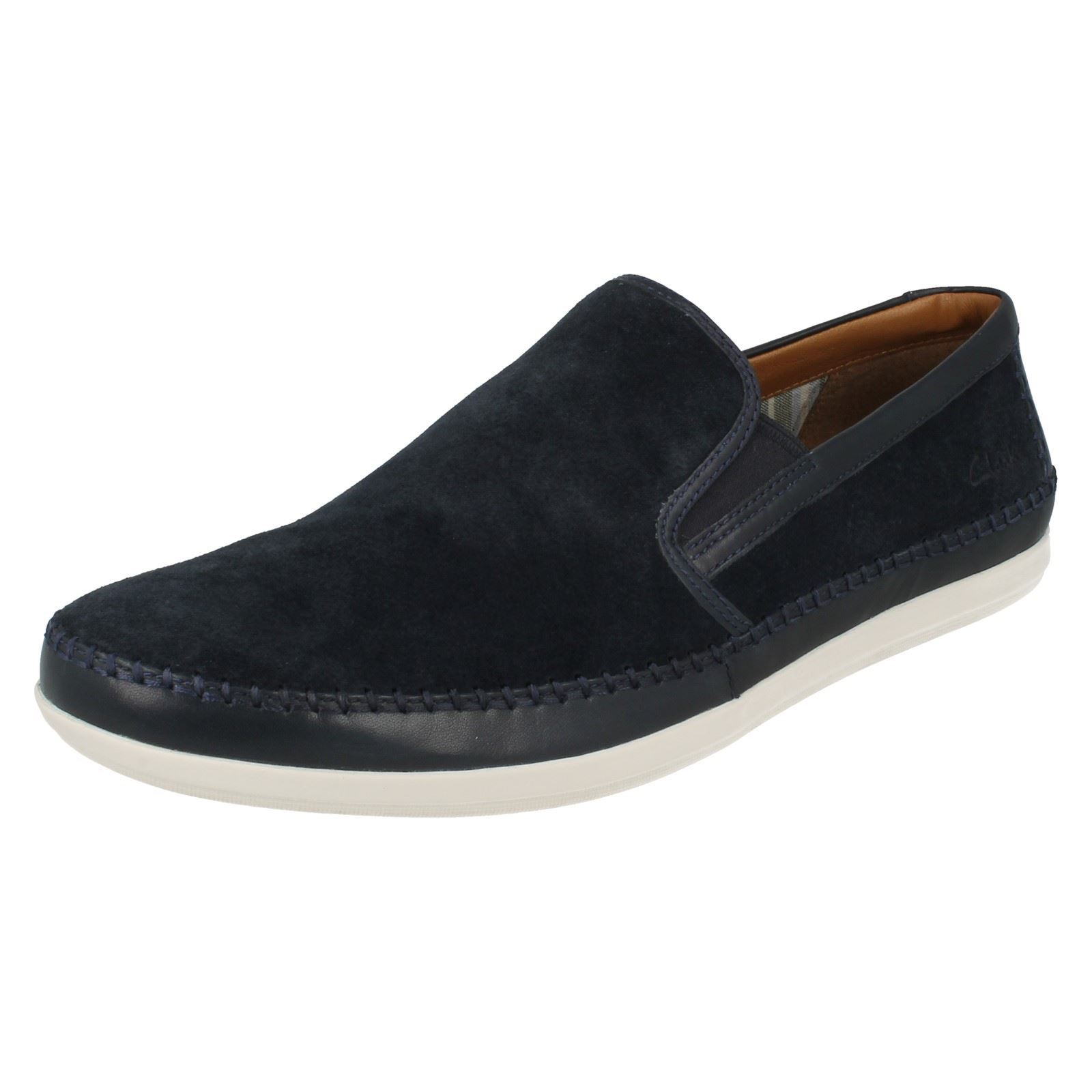 mens clarks suede leather slip on shoes mask way