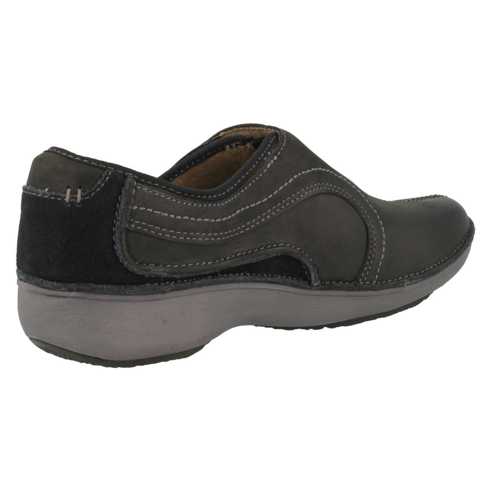 Ladies Walk Wave Black Leather Shoes Uk