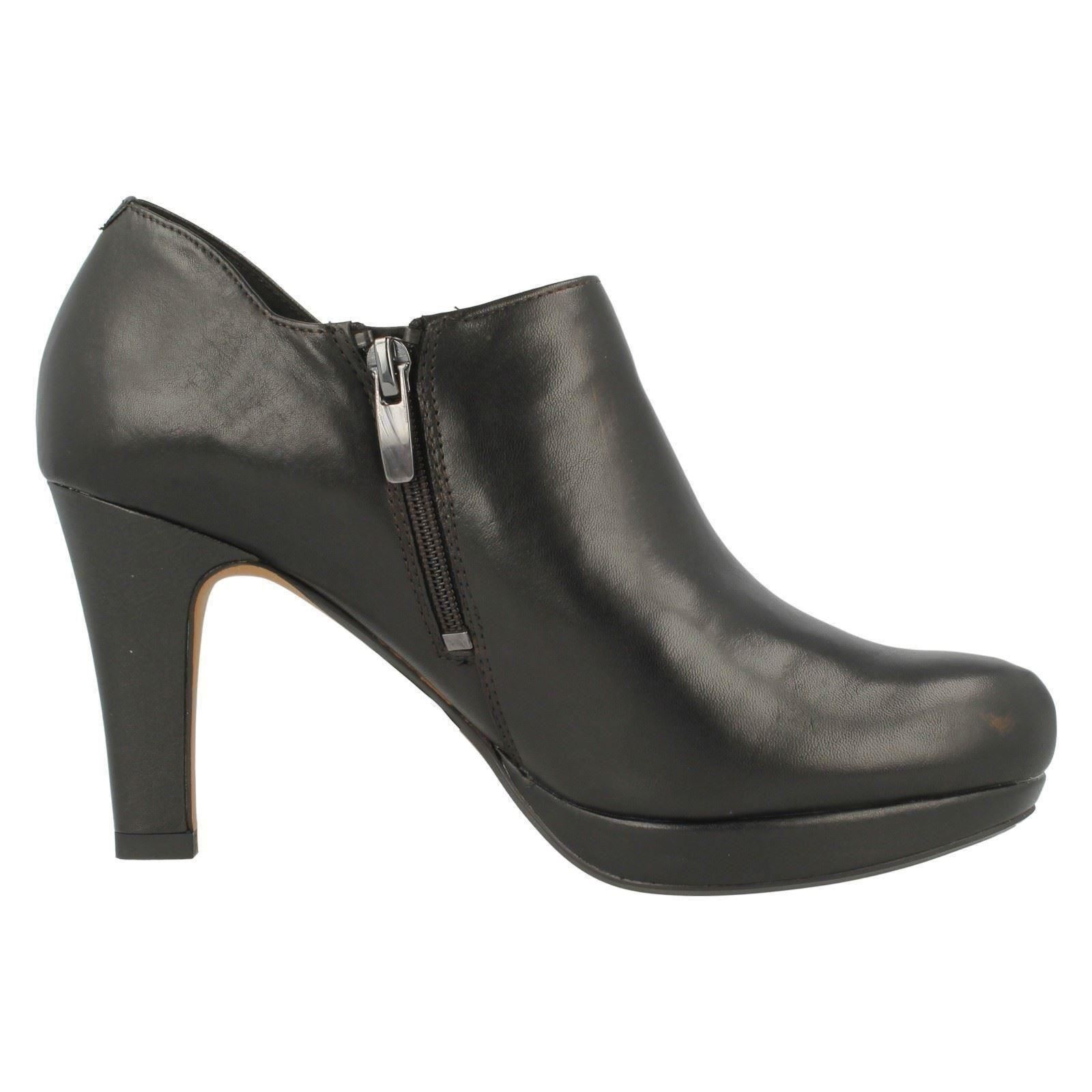 clarks leather boot shoes with high heel and