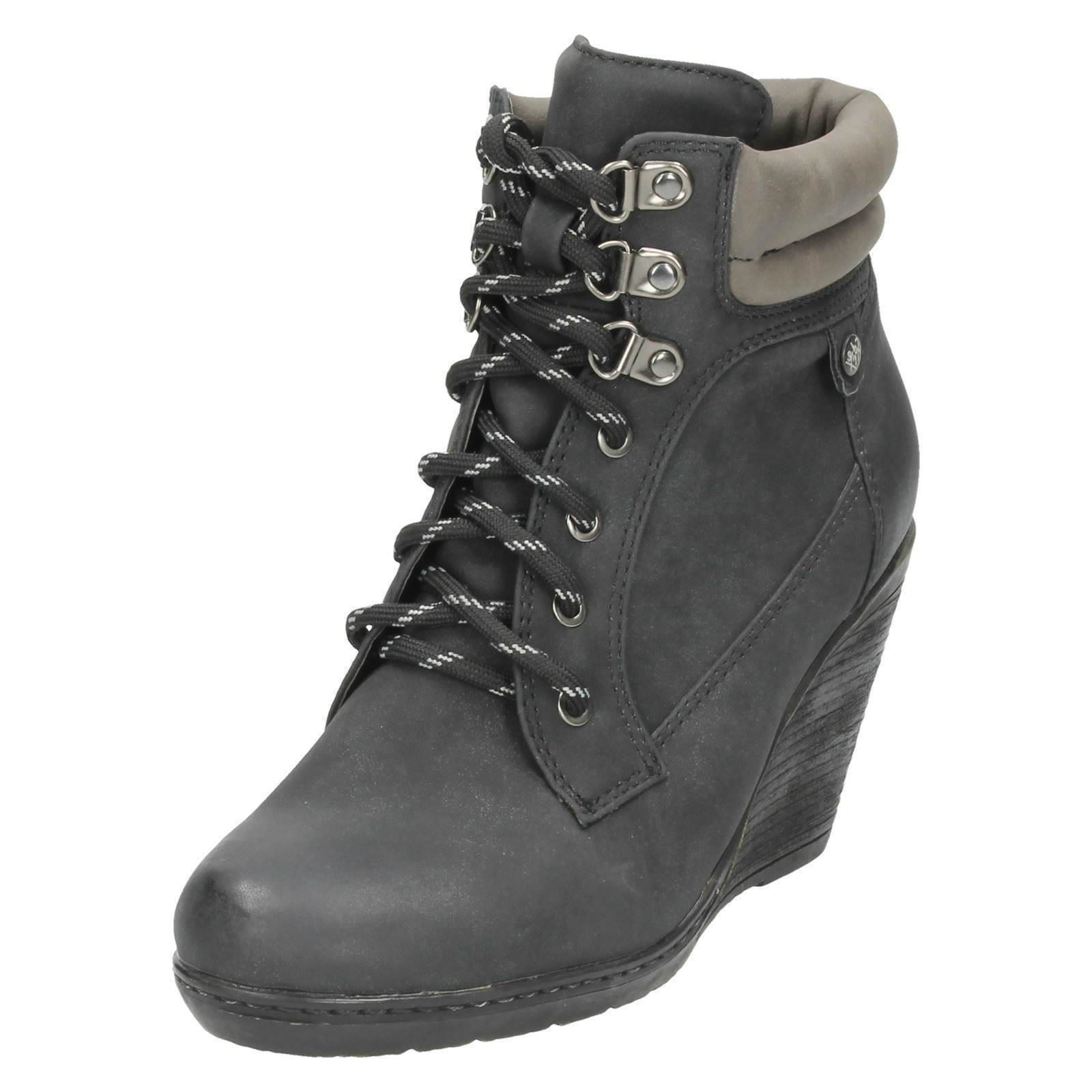 spot on lace up ankle boots wedge heel ebay