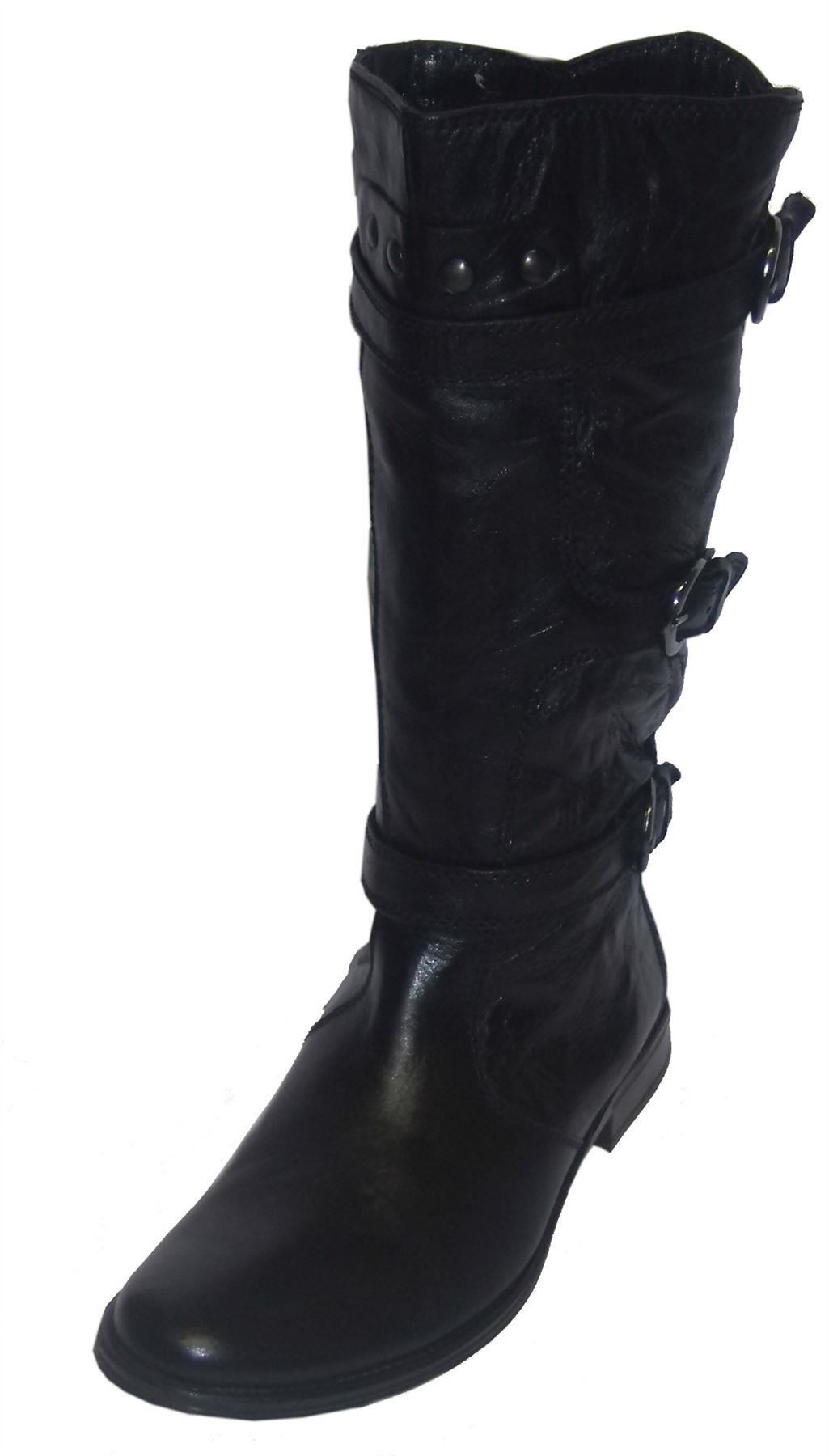 ladies damen stiefel biker style leather boots s077 ebay. Black Bedroom Furniture Sets. Home Design Ideas