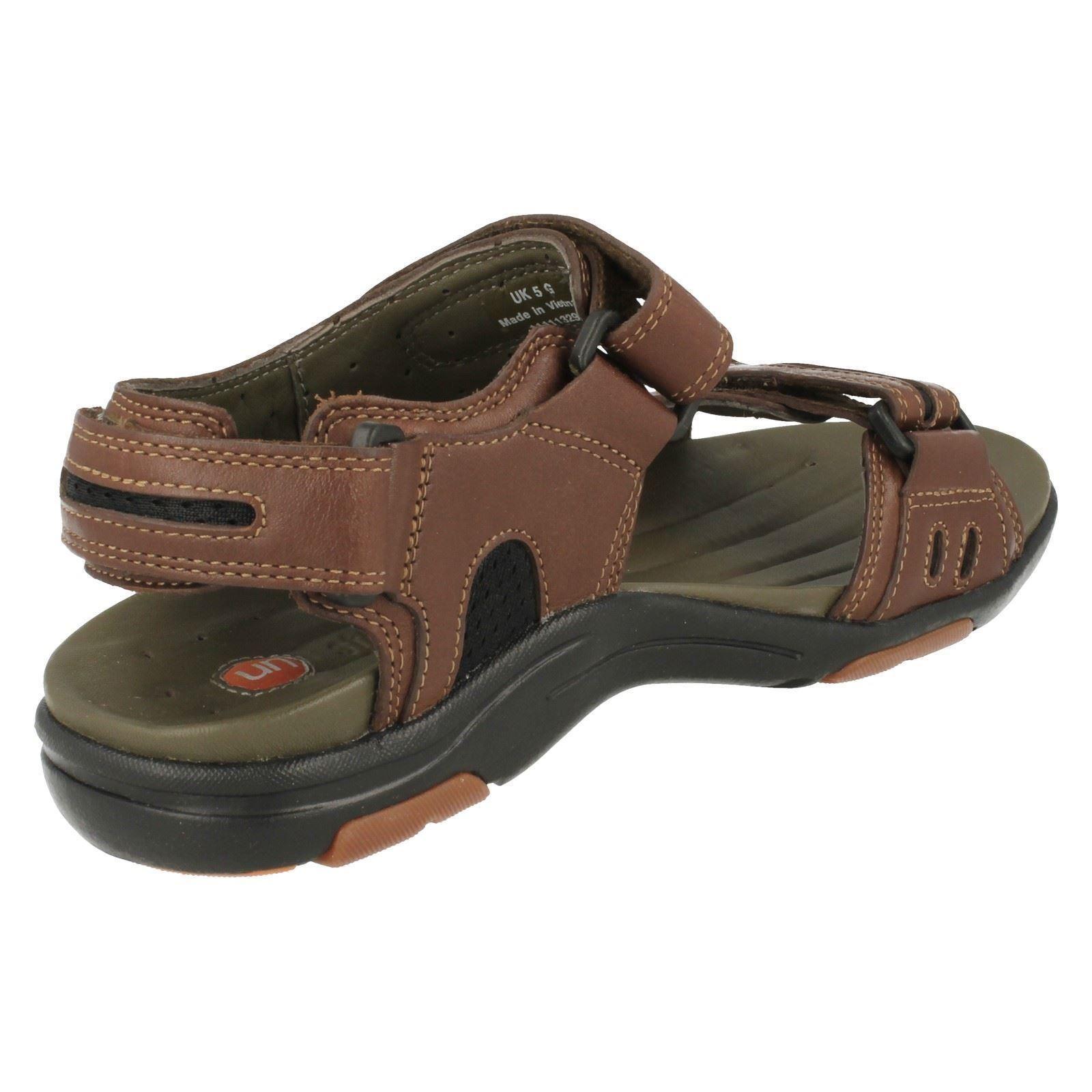 mens clarks leather velcro unstructured sandals un charter