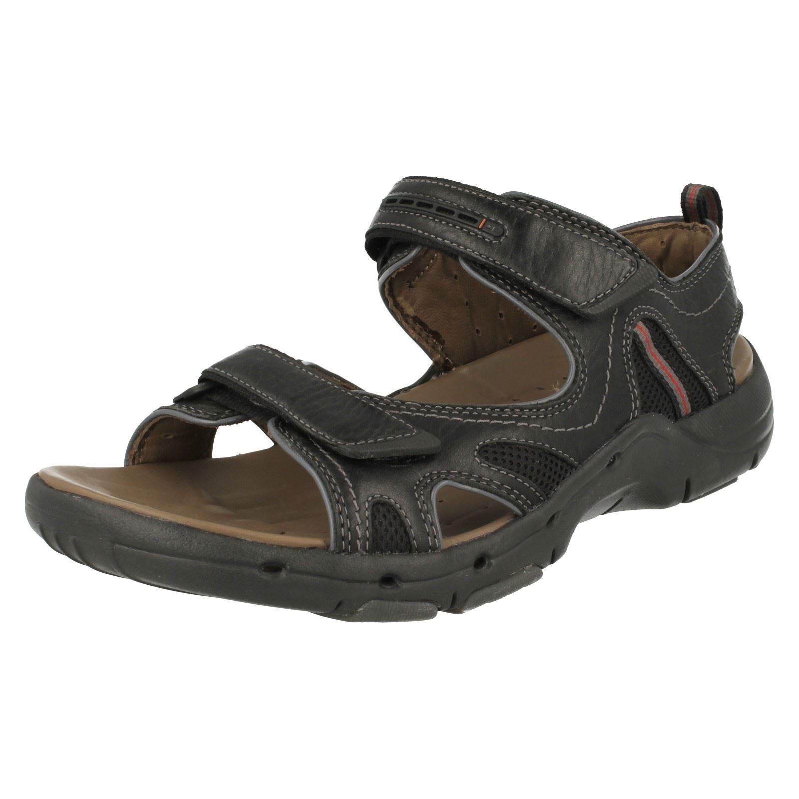 mens clarks leather velcro unstructured sandals un reach
