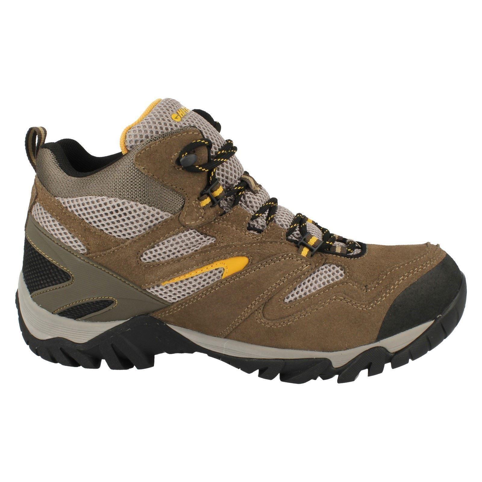 mens hi tec waterproof walking hiking boots coyote mid
