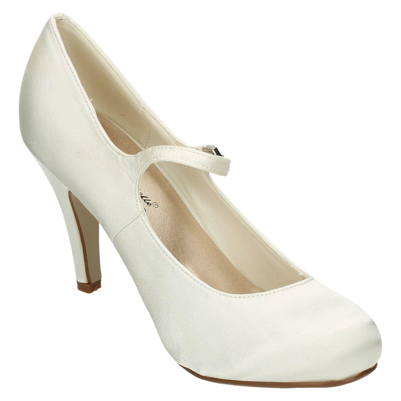 ladies anne michelle high heel round toe satin court shoe. Black Bedroom Furniture Sets. Home Design Ideas
