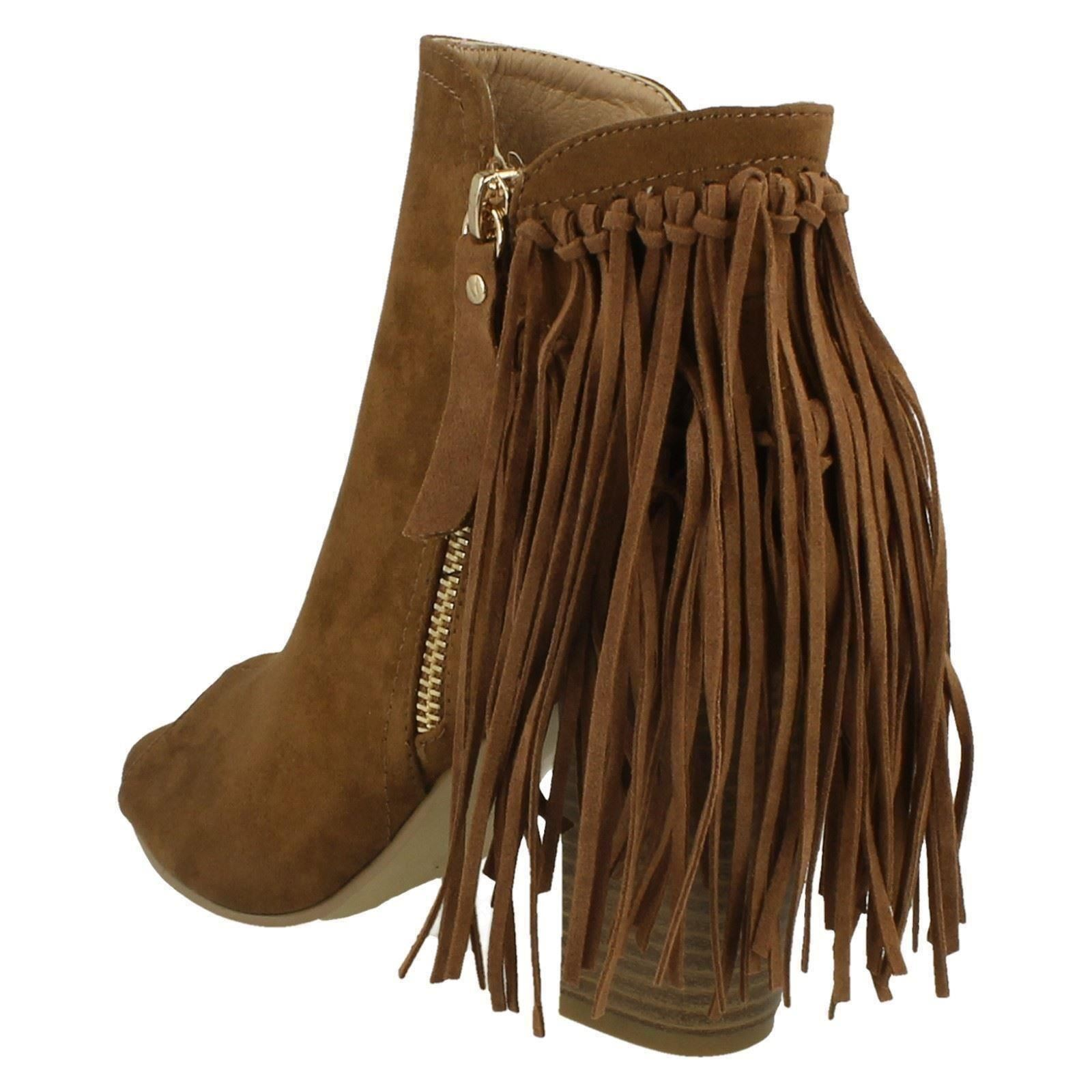 spot on fringed open toe ankle style boots ebay