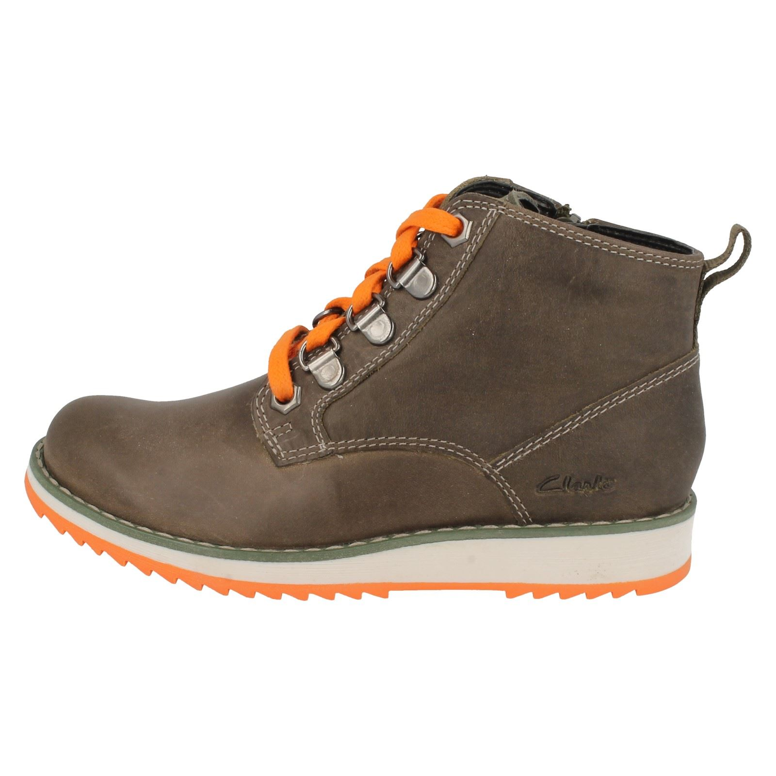 boys clarks casual leather boots fleet hike ebay