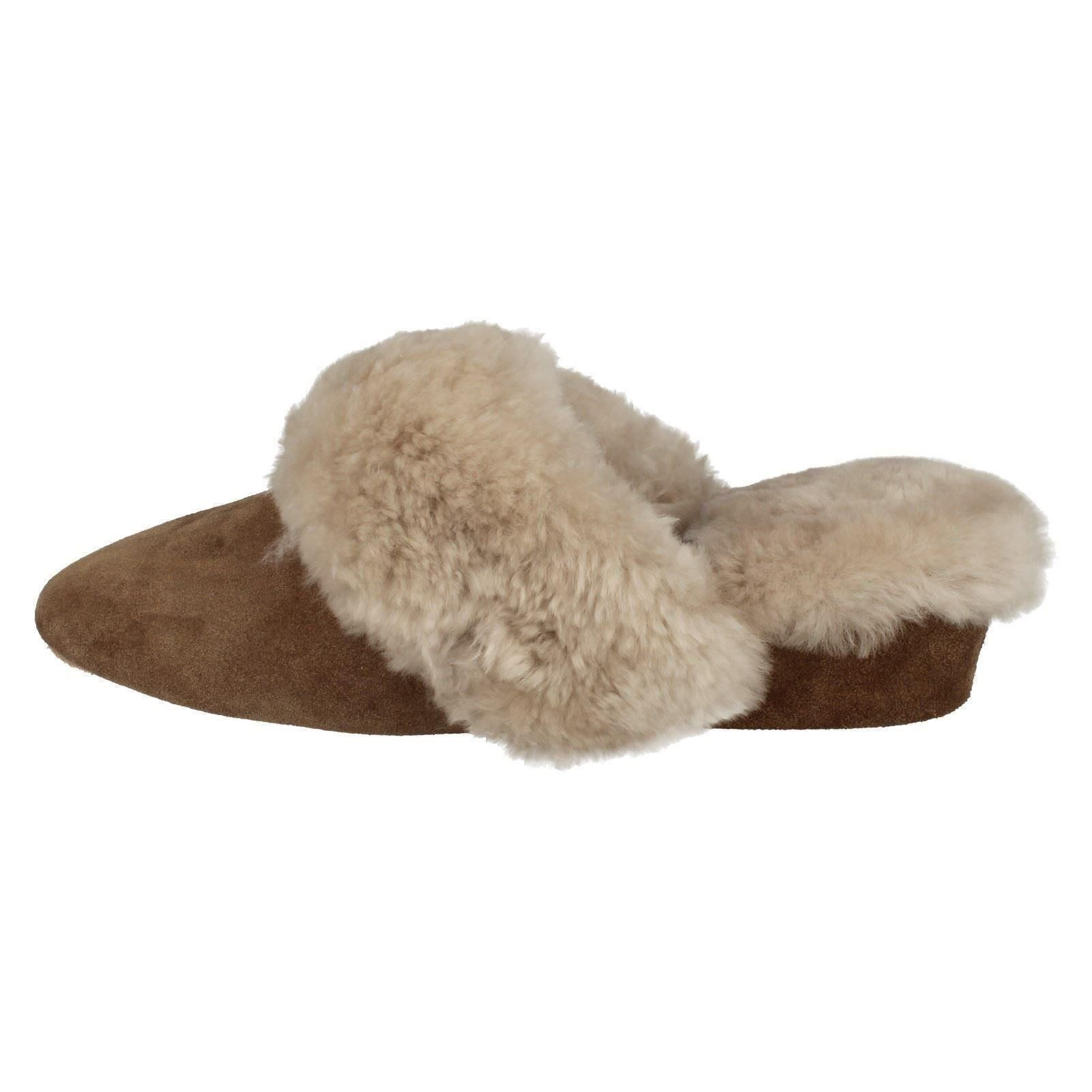 047acfb4a04 Ladies Morlands Sheepskin Leather Wedge Heel Mule Slippers Warm .