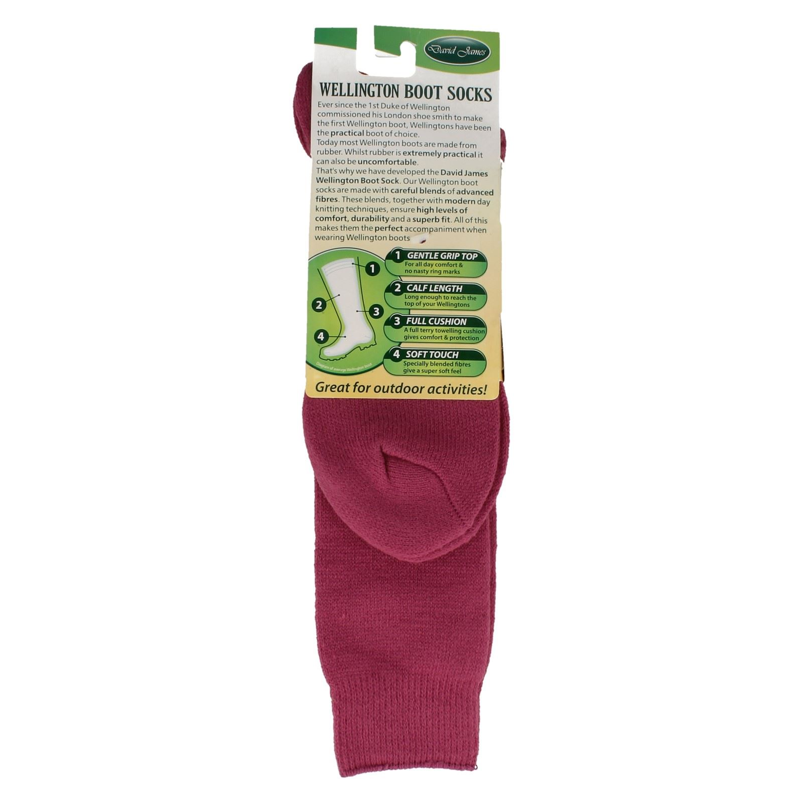 Ladies David James Soft Top Wellington Boot Socks