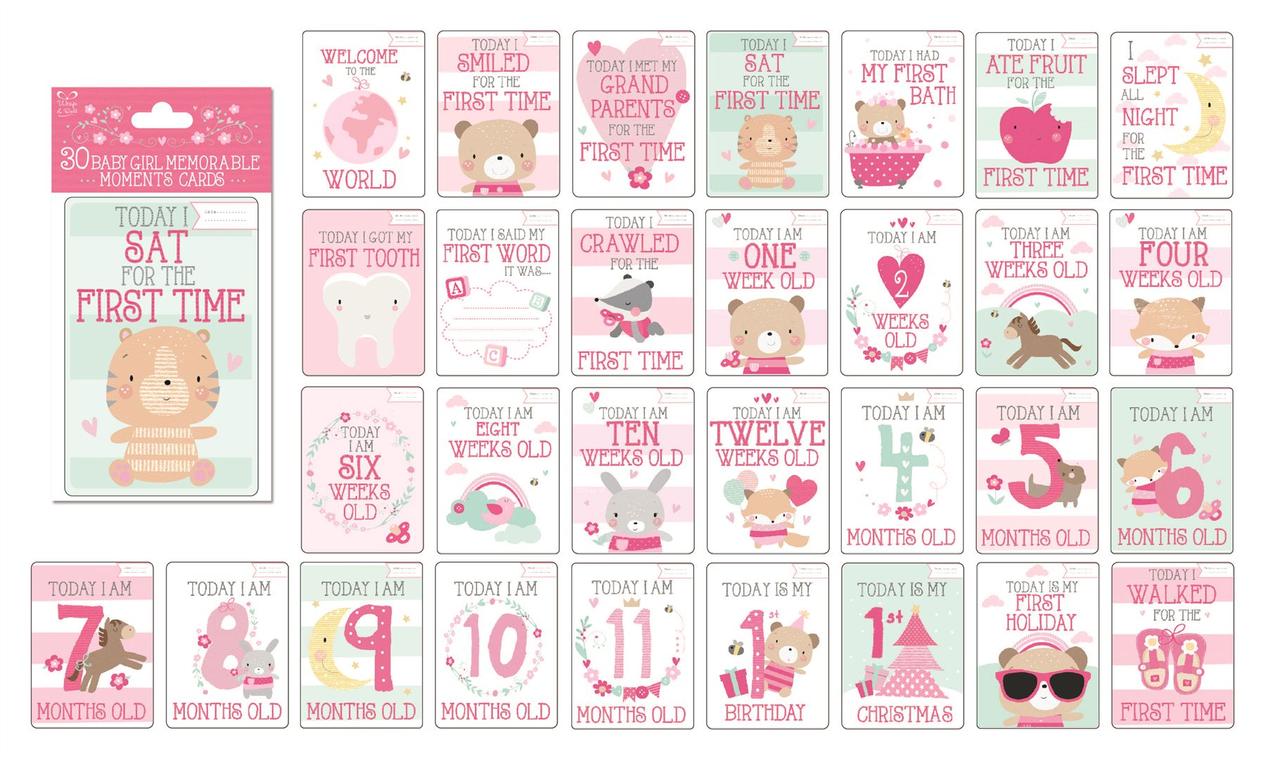Baby Gift Cards Uk : Baby memorable moments milestone cards boy girl