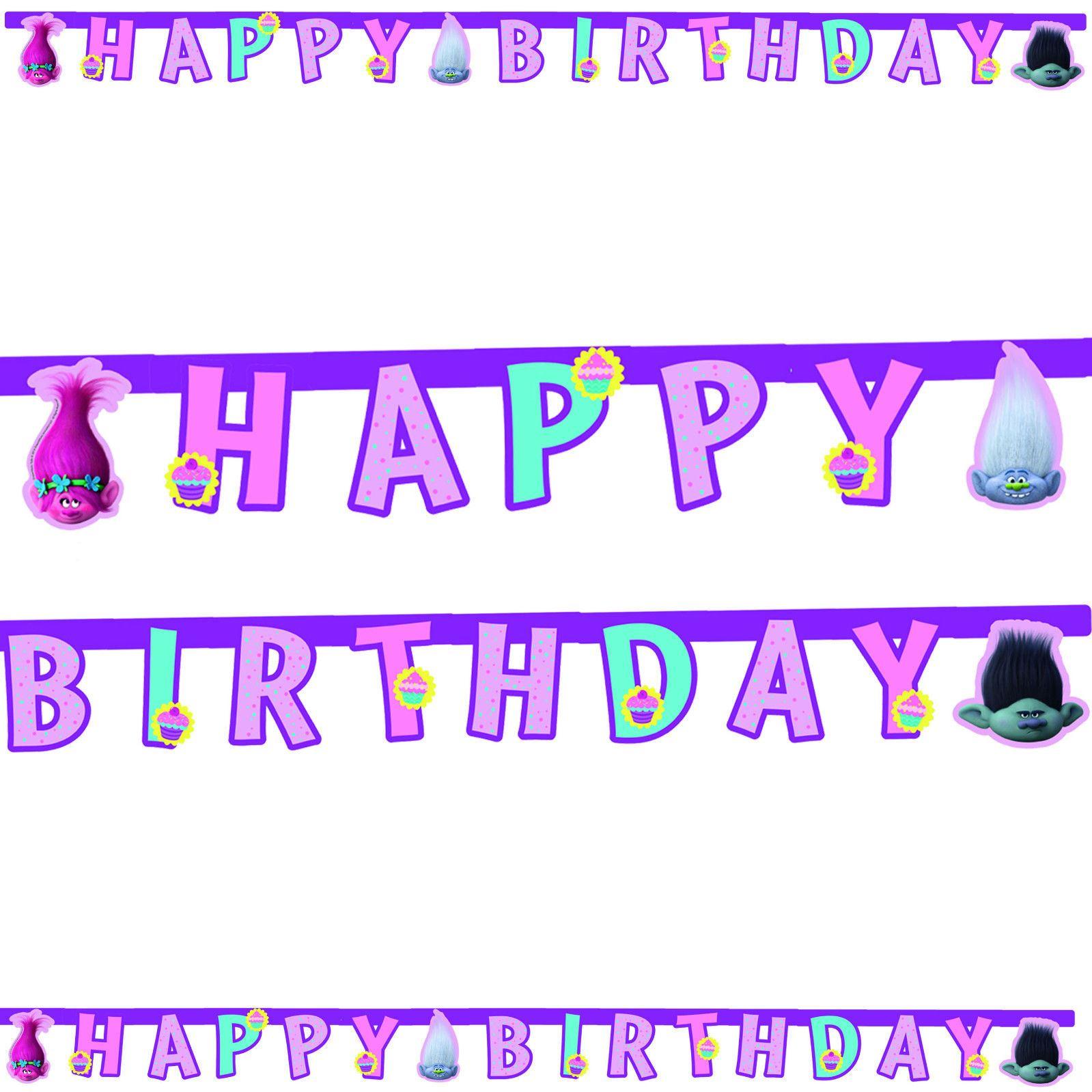 Dreamworks Trolls Birthday Party Decorations Banner