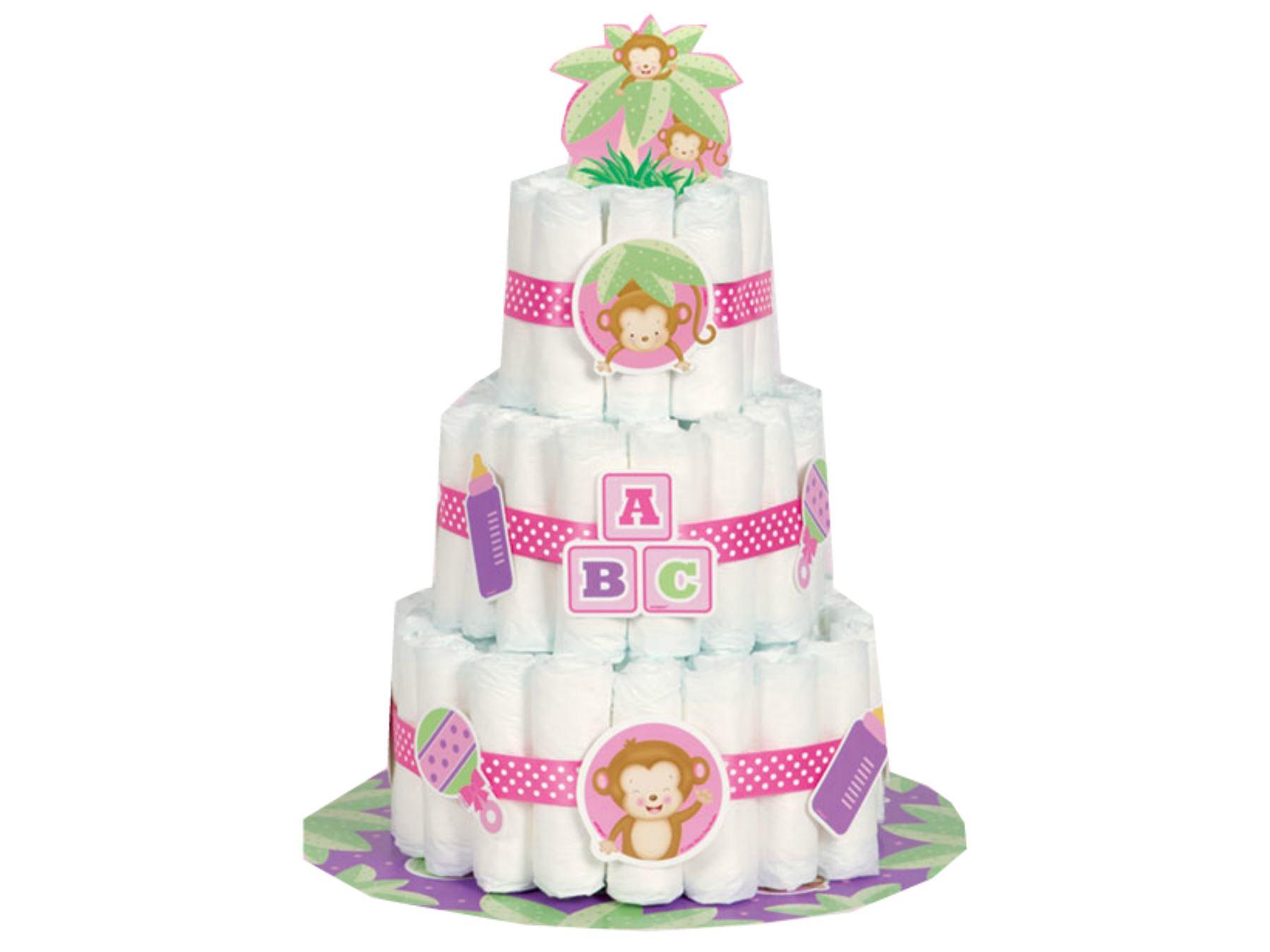 Baby Shower Cake Decoration Kits : Girl Nappy Cake Kit - Baby Shower Party Decoration Supplies