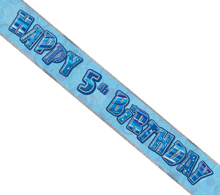 Blue Age 5 Boys Happy 5th Birthday Banner Balloons ...