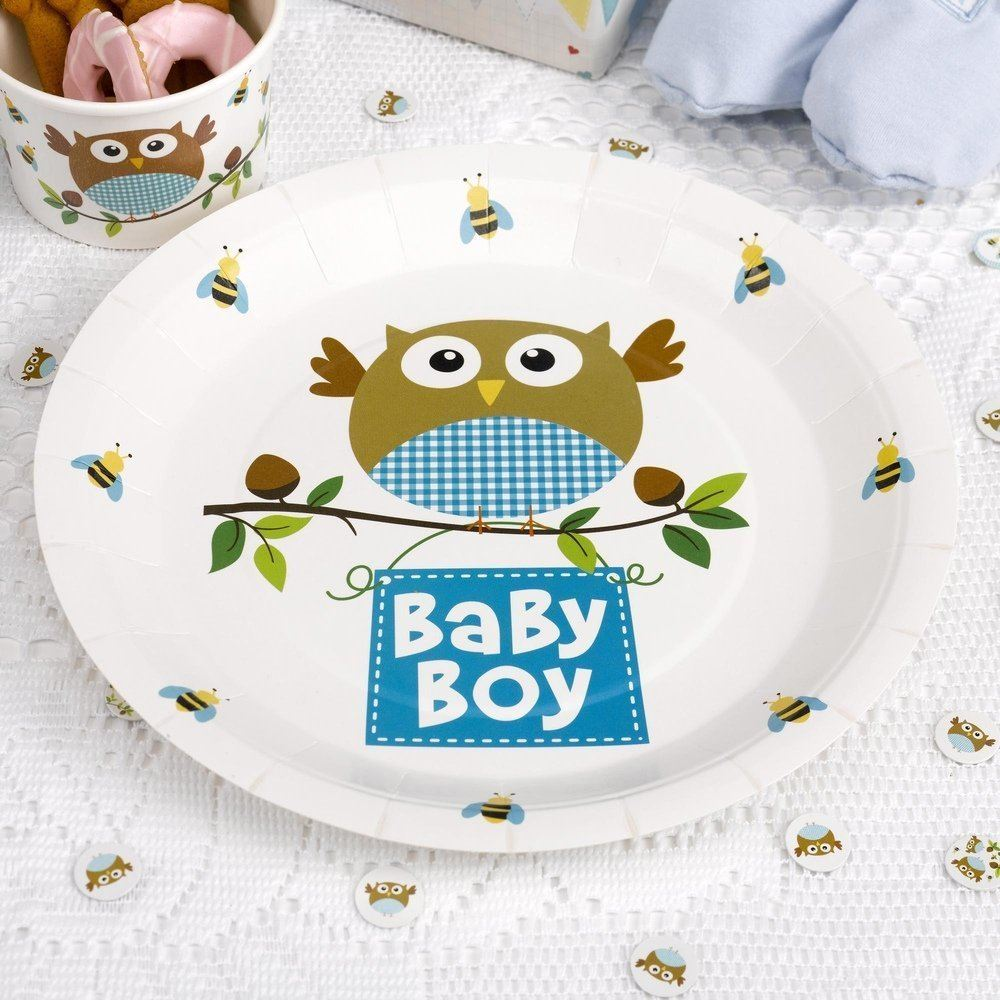 Baby Shower Neutral Decorations Uk ~ Quot baby shower party plates pink blue neutral tableware