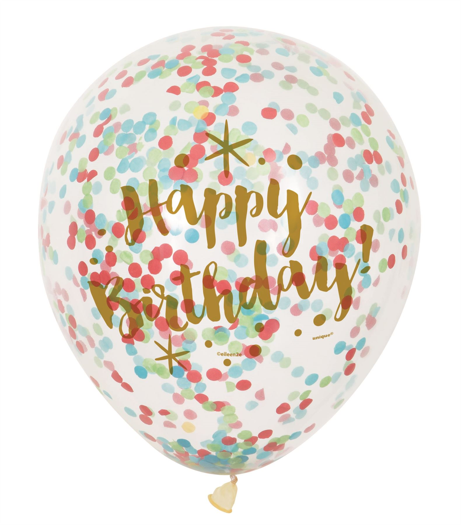"6 12"" Clear Confetti Filled Balloons Birthday Party"