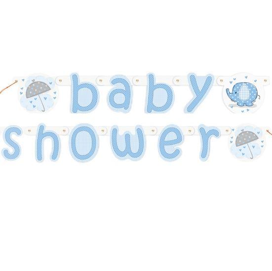 Blue Umbrellaphants Boy Baby Shower Party Tableware