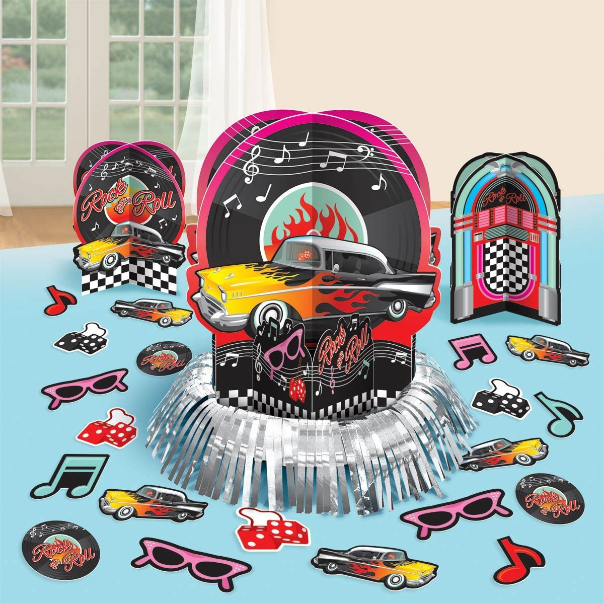 Classic 50 39 s themed party tableware decorations rock roll 1950s retro supplies ebay - Rock and roll theme party decorations ...
