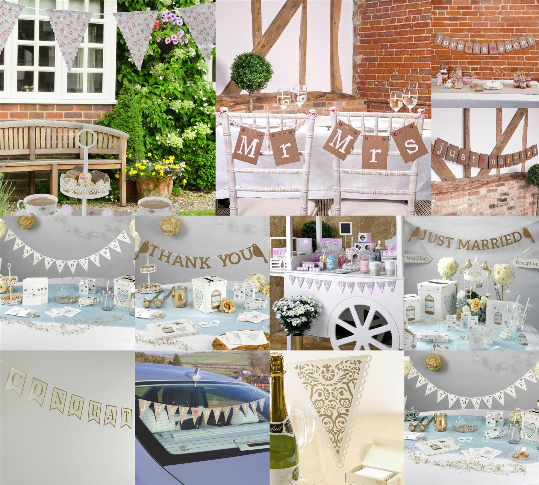 Wedding party bunting banner decorations vintage garland for Just married dekoration