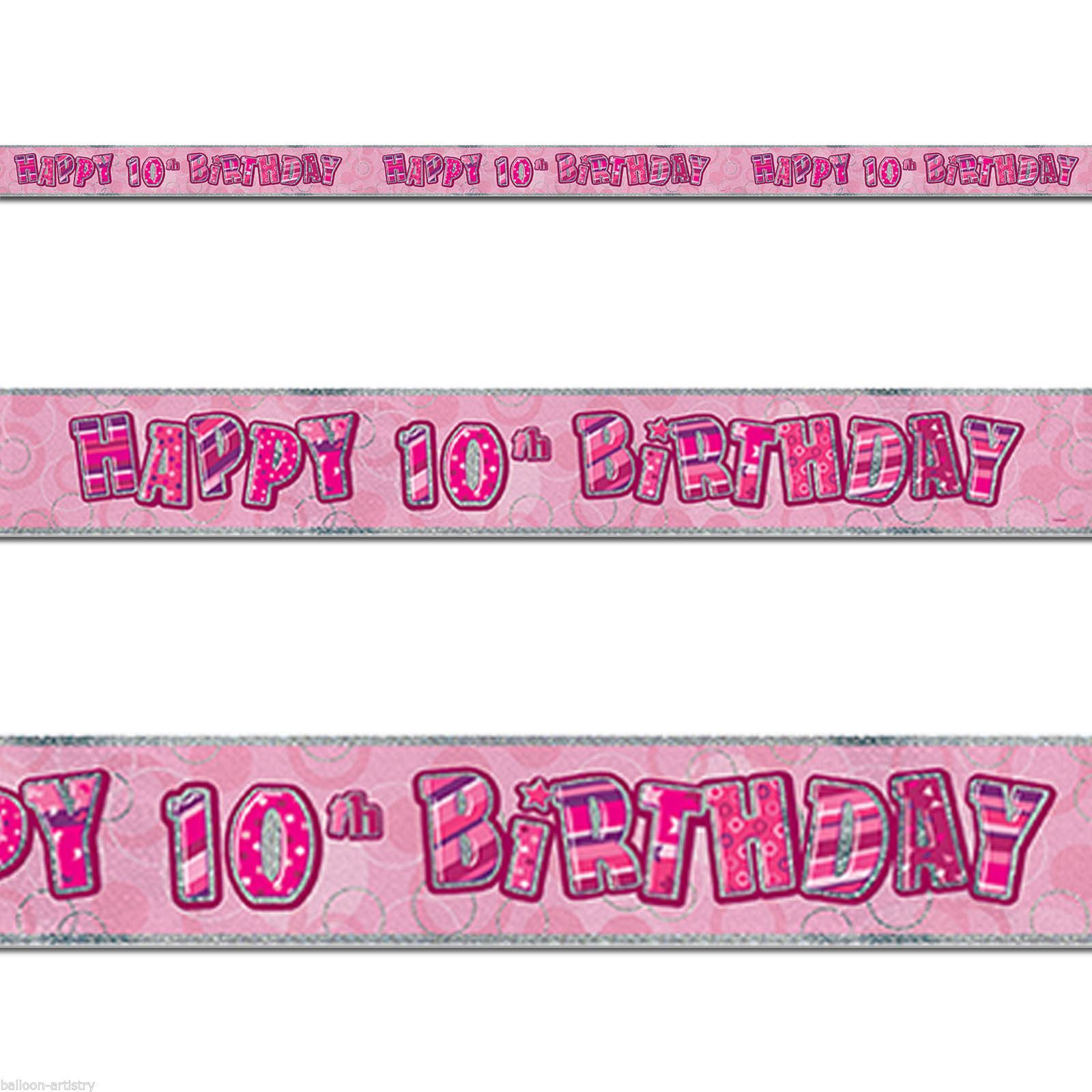pink age 10 girls happy 10th birthday banner balloons