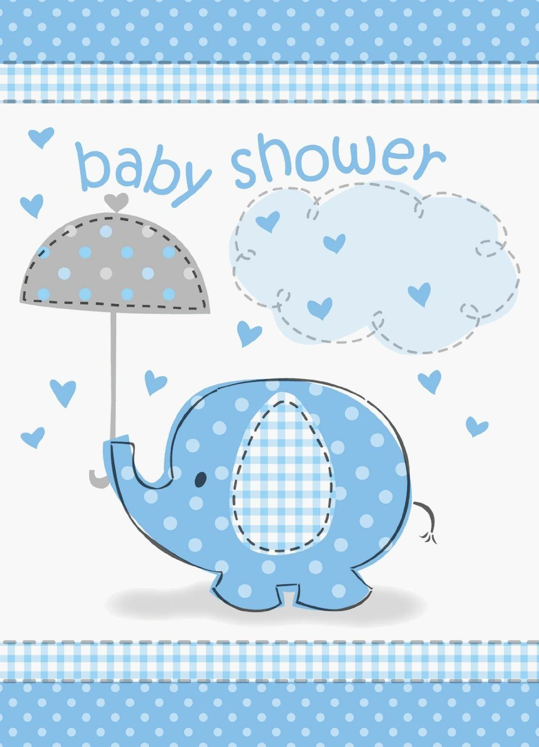 Blue umbrellaphants boy baby shower party tableware for Baby decoration games