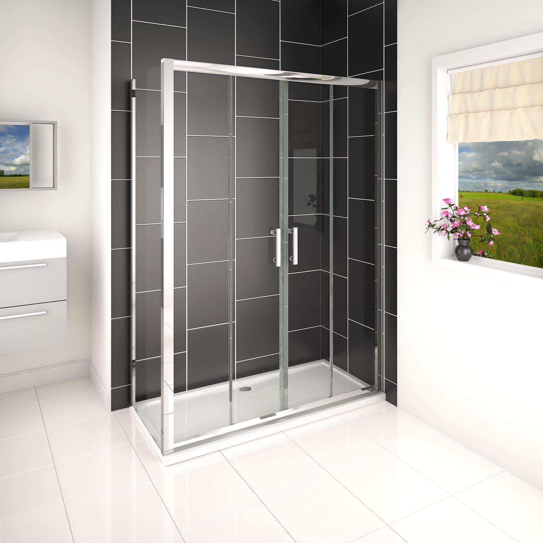 Easy walk in glass double sliding door corner shower for Corner sliding glass doors