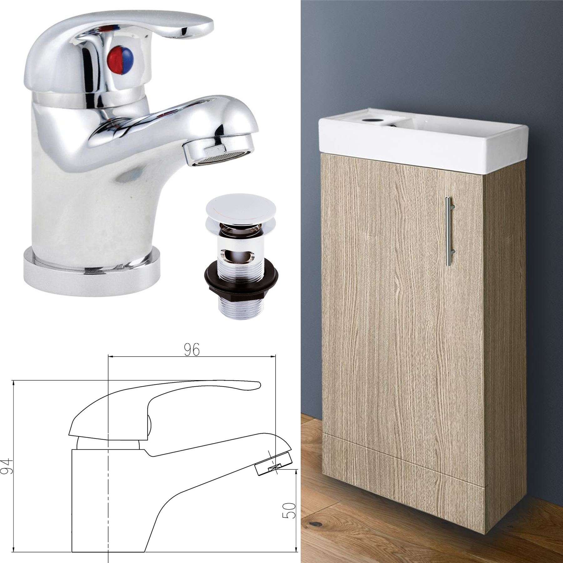 compact 400mm bathroom cloakroom vanity unit basin sink. Black Bedroom Furniture Sets. Home Design Ideas