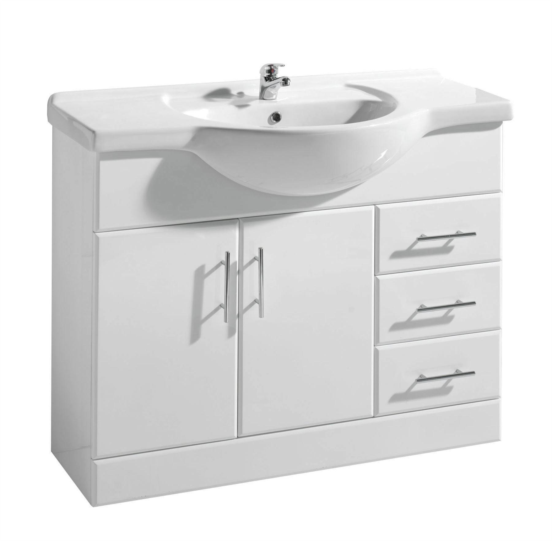 gloss white bathroom cloakroom vanity unit cabinet compact. Black Bedroom Furniture Sets. Home Design Ideas