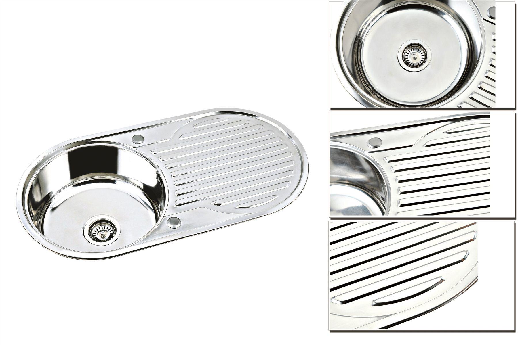 New Stainless Steel Kitchen Sink & Waste Single 1.0, 1.5 & 2.0 Bowl & Round Bowl