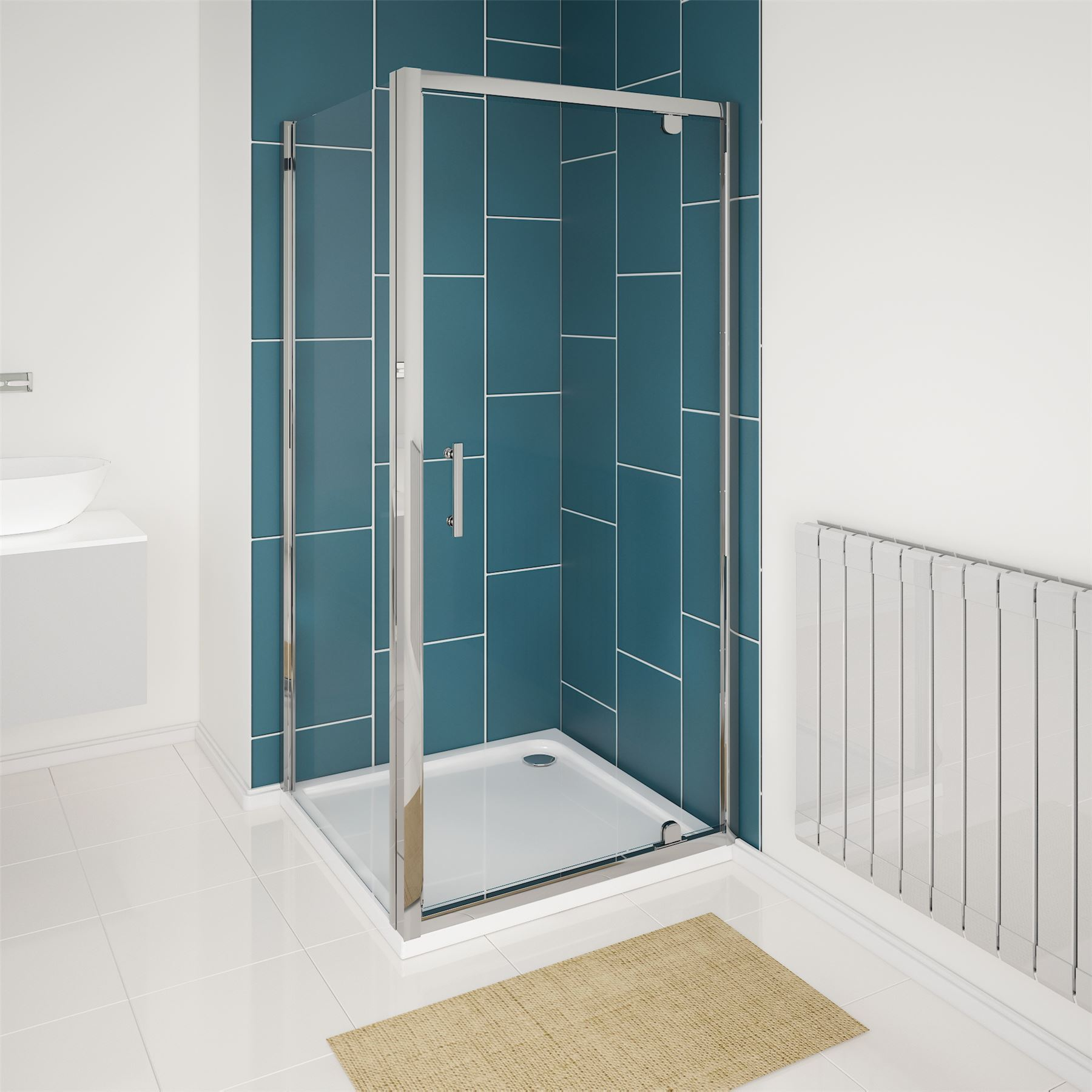 6mm Glass Hinged Pivot Shower Enclosure Door Cubicle Tray