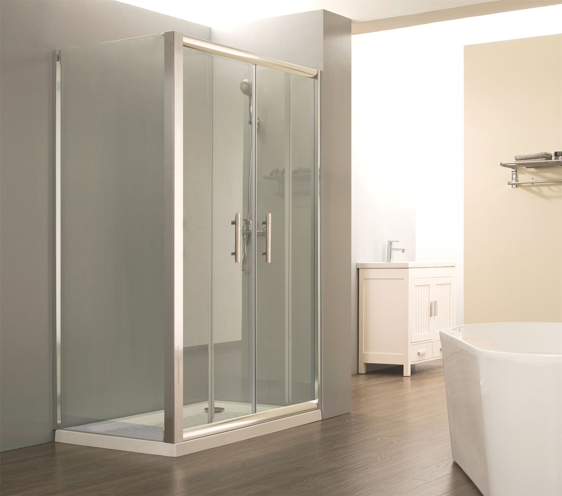 Easy walk in glass double sliding door corner shower enclosure cubicle with tray ebay - Walk in glass shower enclosures ...