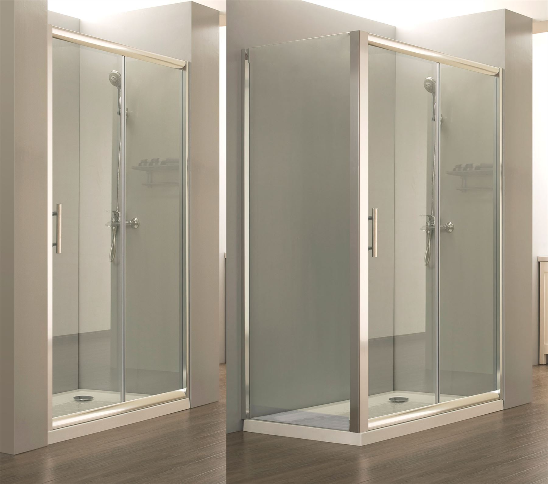 Easy walk in glass quadrant corner sliding door shower for Walk in shower tray