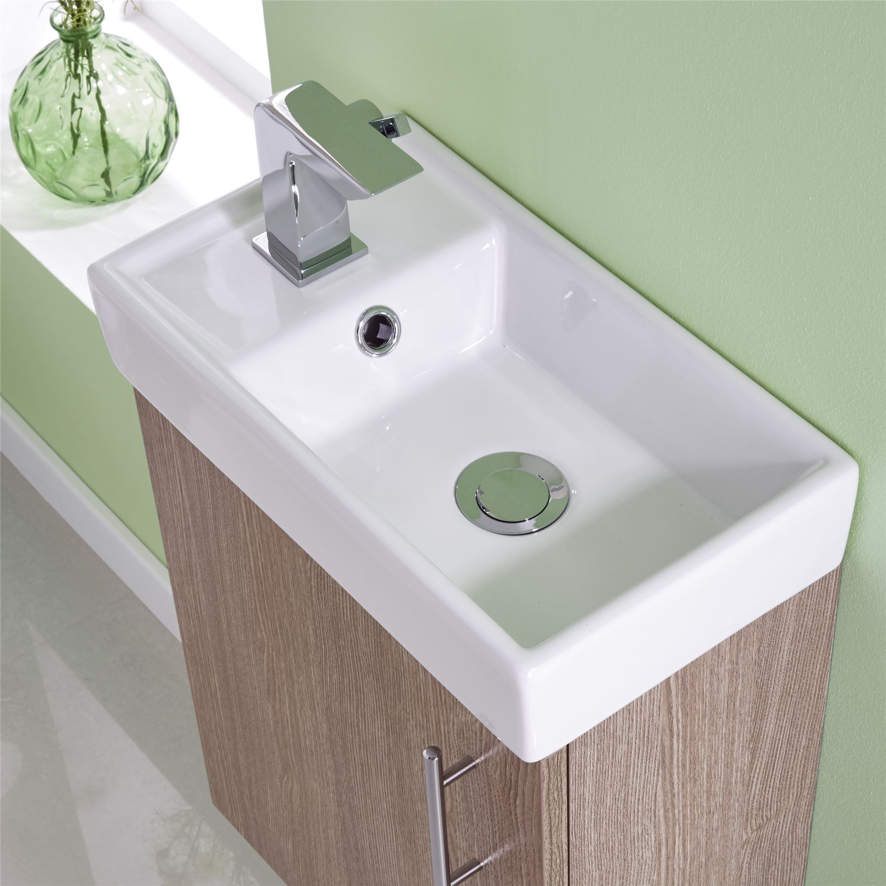 White small compact basin vanity unit bathroom cloakroom furniture 400 - 400mm Modern Bathroom Cloakroom Vanity Unit Amp Basin Sink