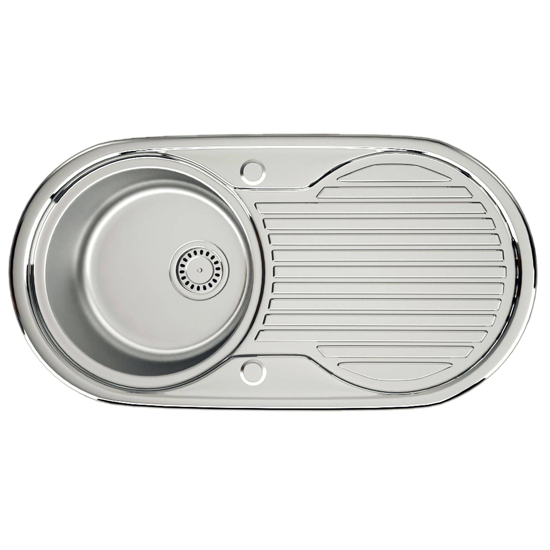 NEW-Stainless-Steel-Kitchen-Sink-Reversible-1-0-1-5-Bowl-Small-Round ...