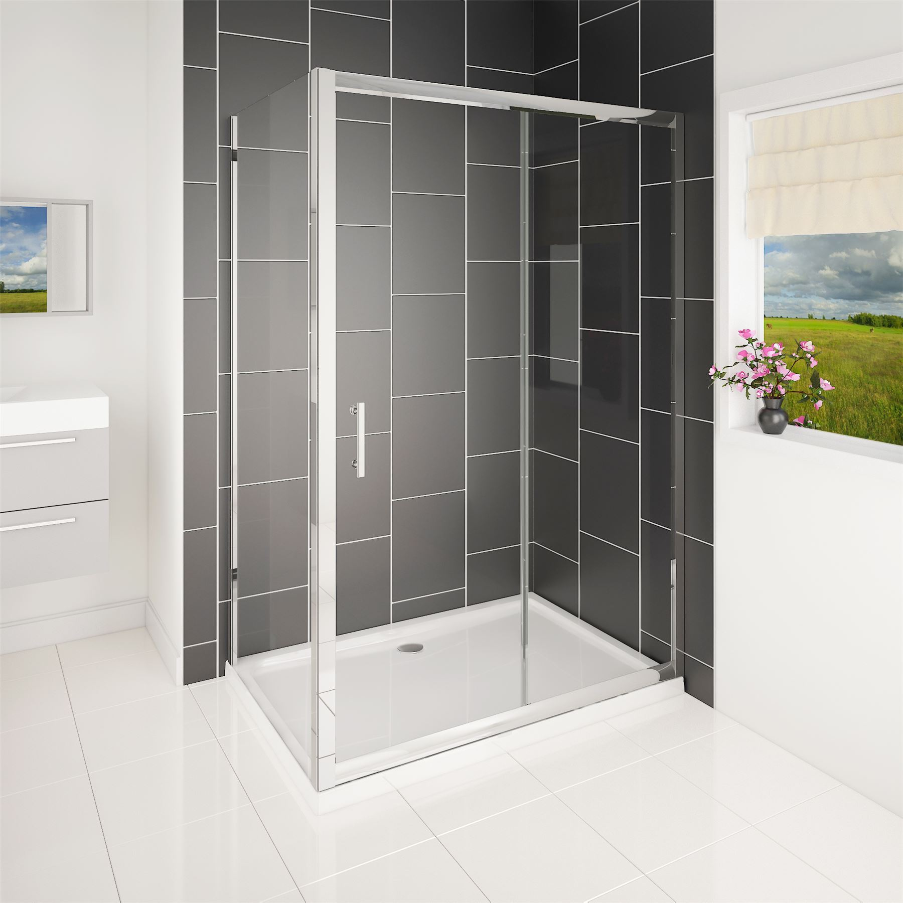 Easy Walk in Glass Single Chrome Sliding Door Shower Enclosure Cubicle with Tray
