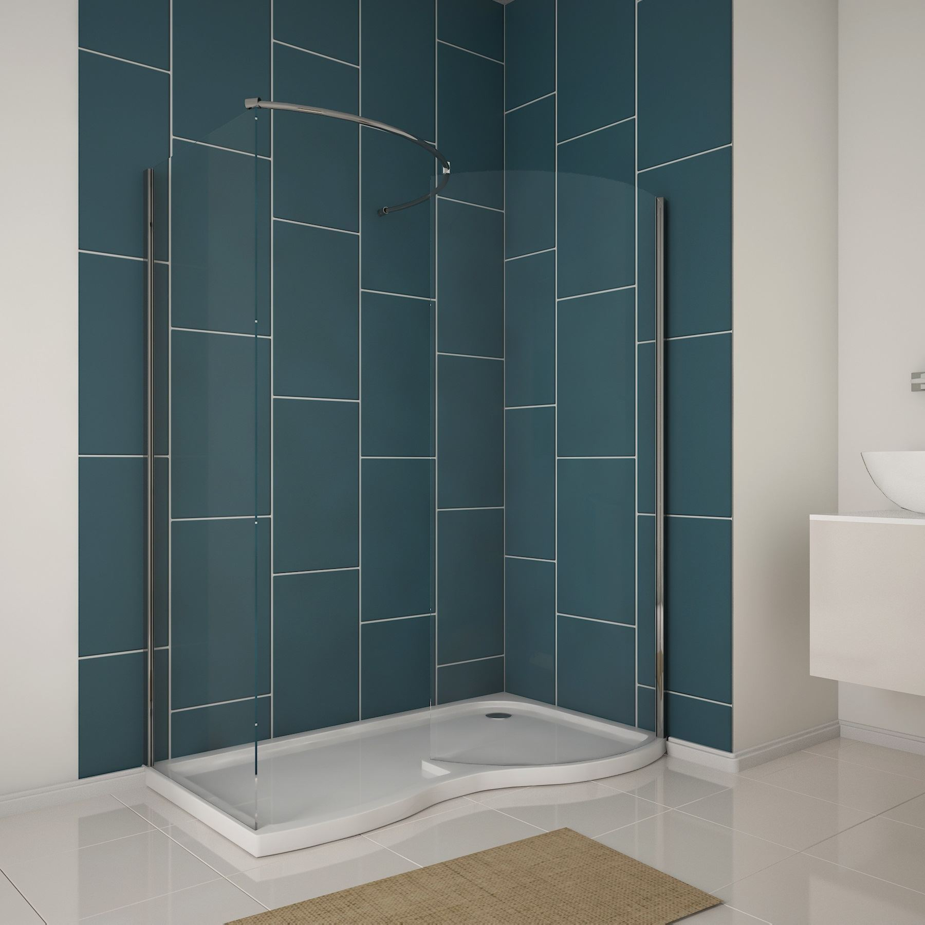 6mm curved walk in shower enclosure easy clean glass screen 1850 side panel tray ebay - Walk in glass shower enclosures ...