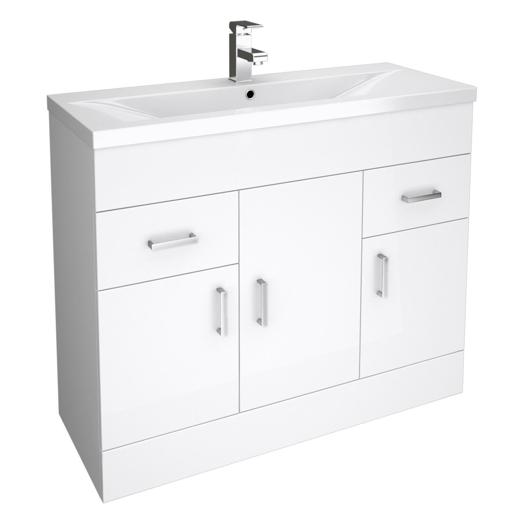 white bathroom cloakroom storage vanity unit cabinet cupboard drawer