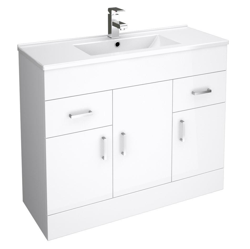 white bathroom cloakroom vanity storage unit cabinet cupboard drawer