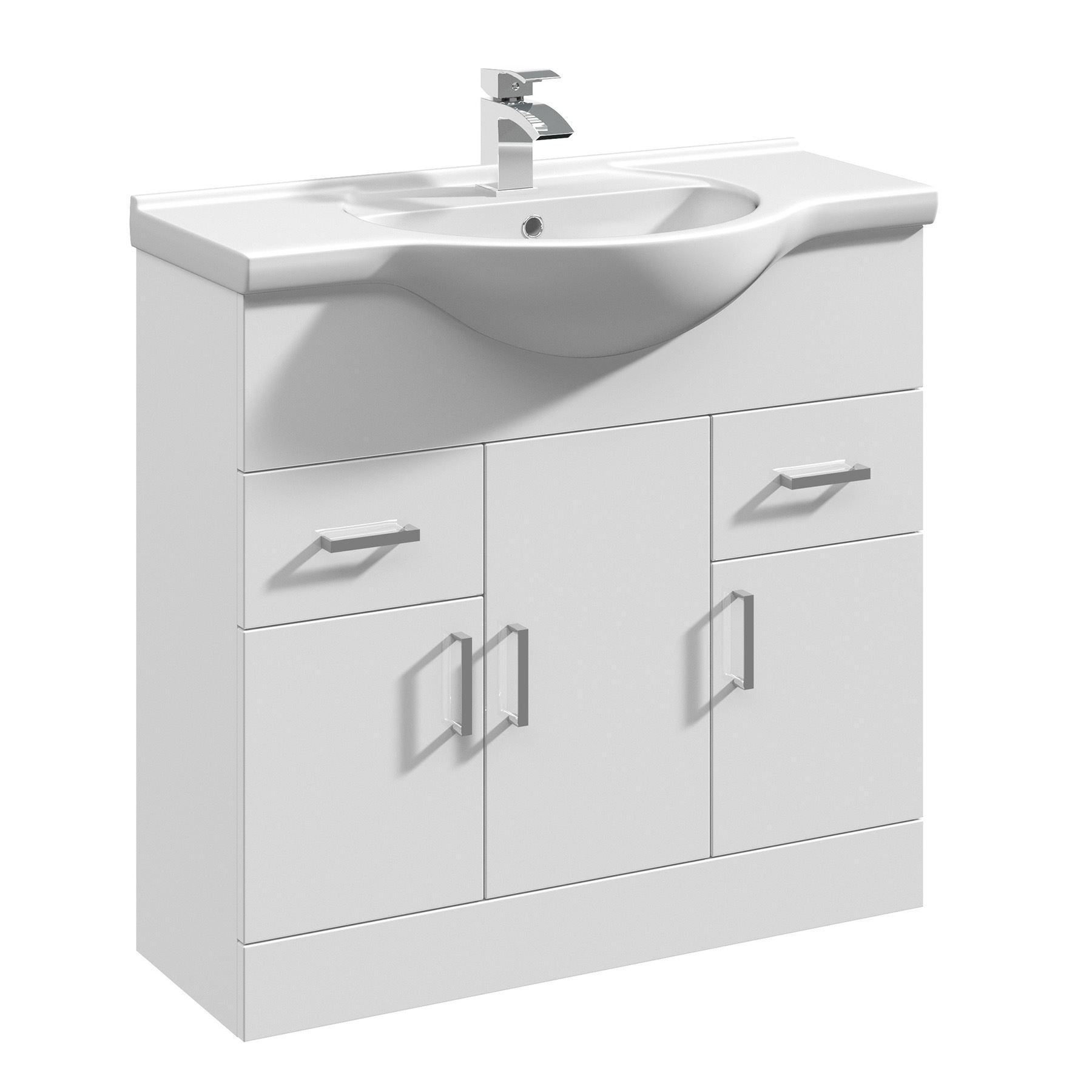gloss white bathroom vanity unit cloakroom cabinet. Black Bedroom Furniture Sets. Home Design Ideas