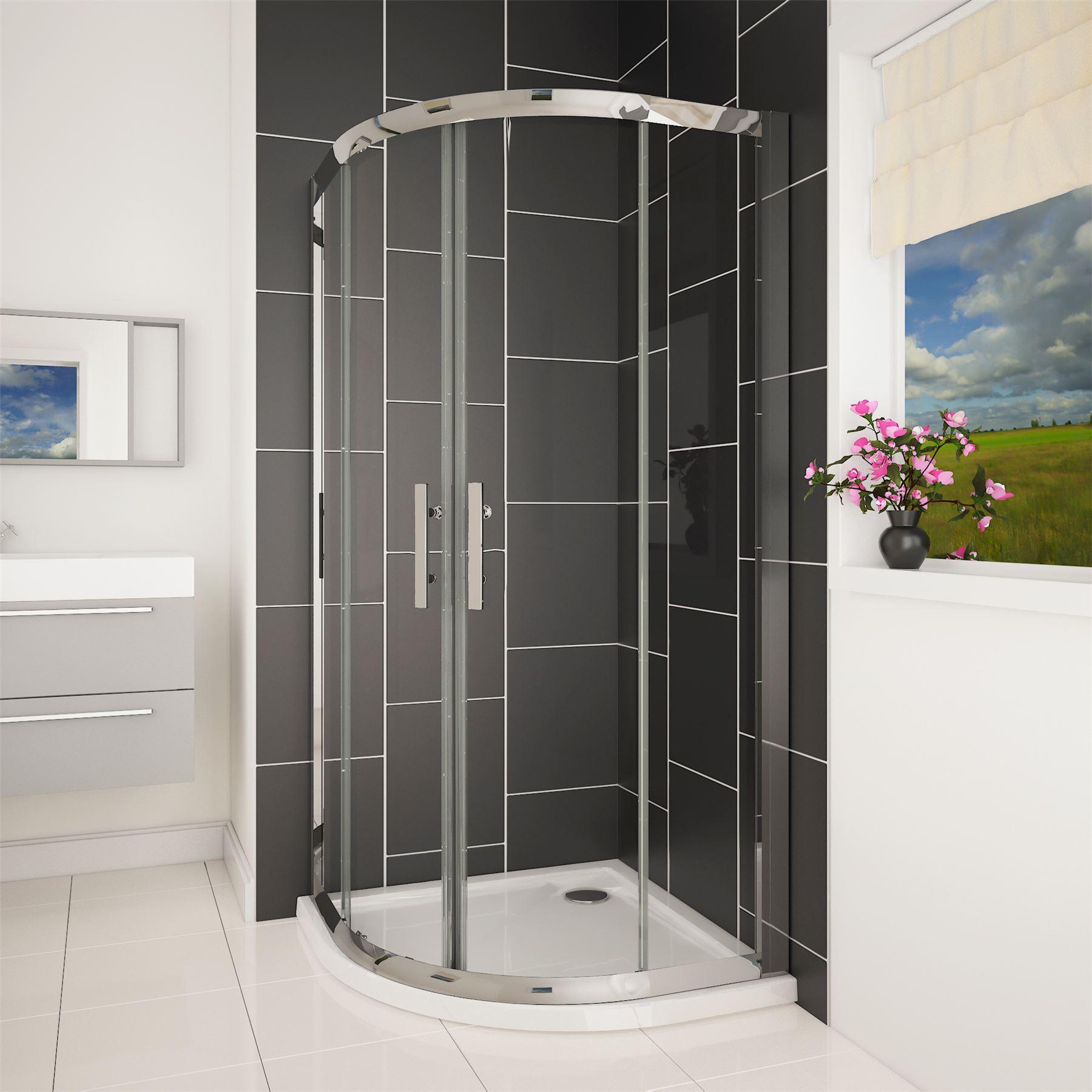 Easy walk in glass quadrant corner sliding door shower enclosure cubicle tray ebay - Walk in glass shower enclosures ...