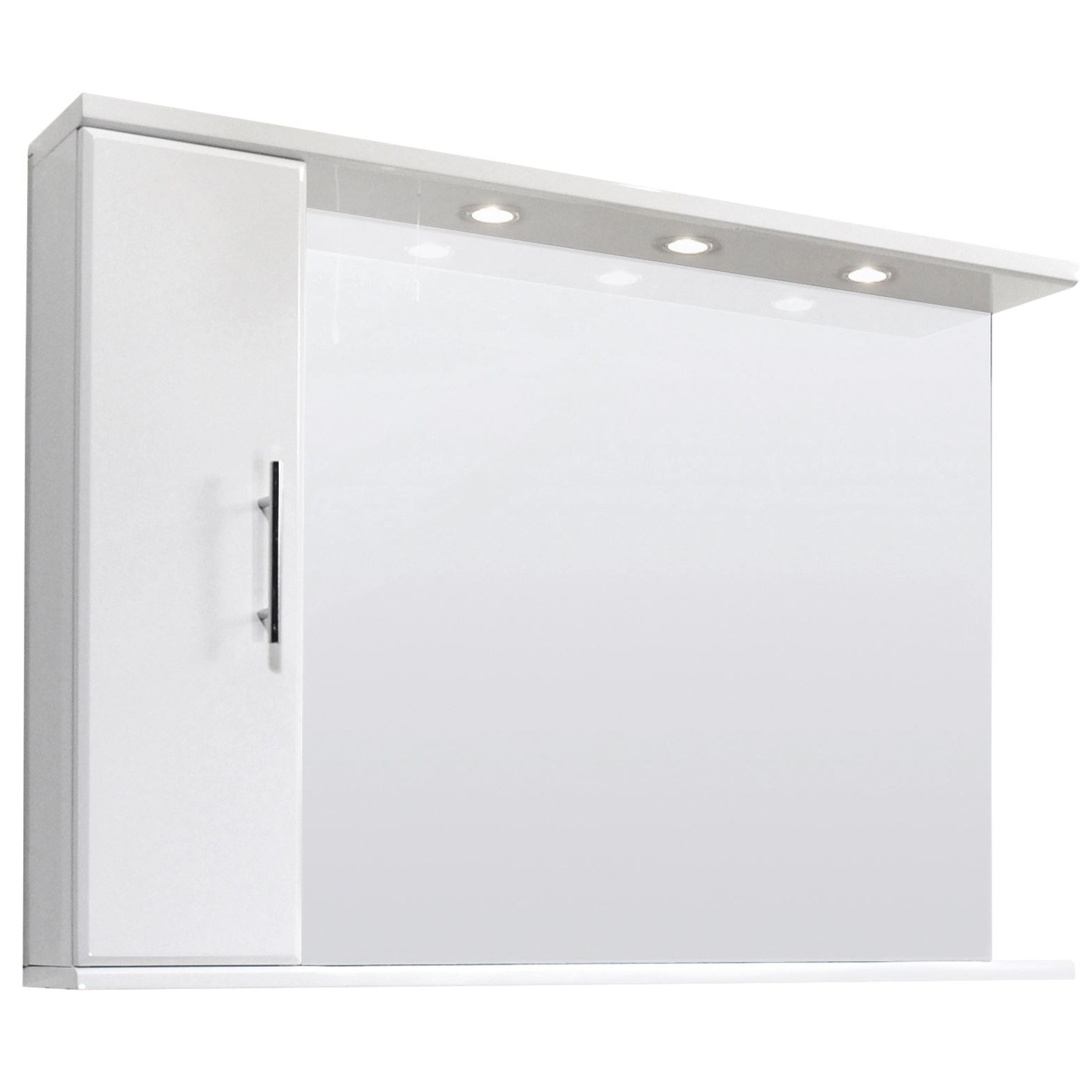 high gloss white bathroom mirror vanity cabinet inset light shelf