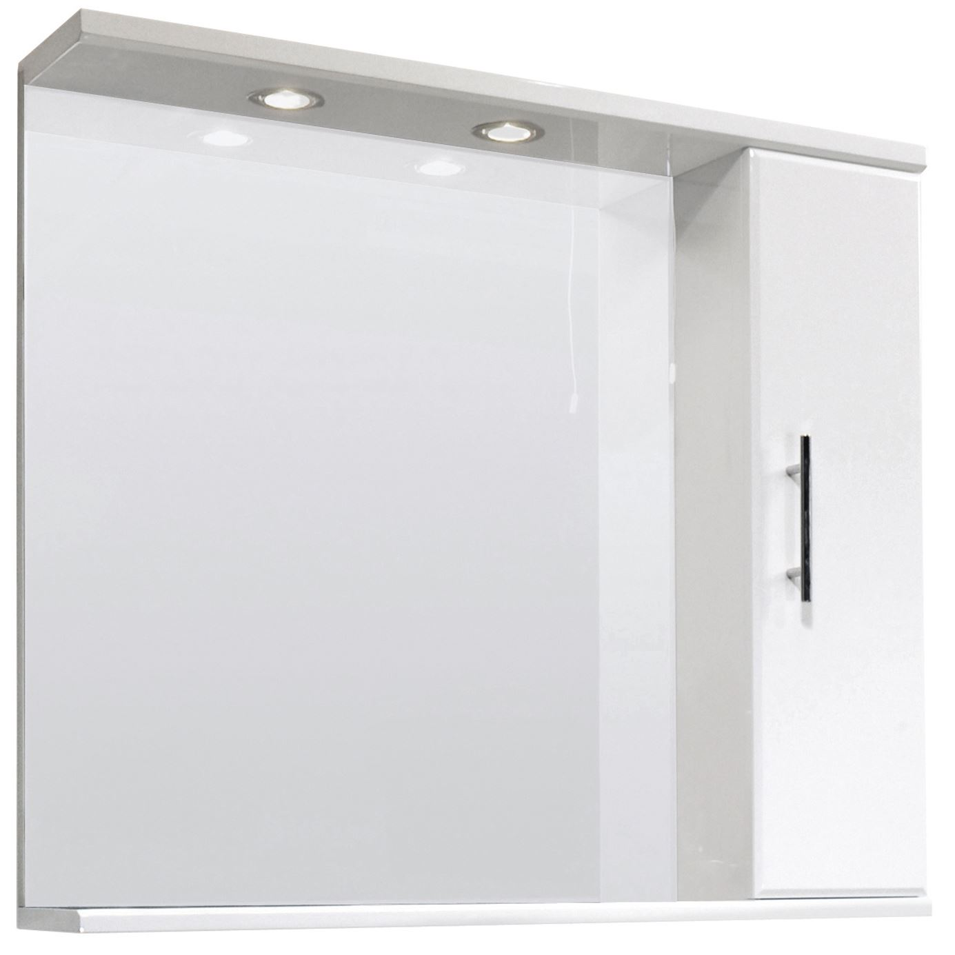 high gloss white bathroom mirror vanity cabinet inset light shelf