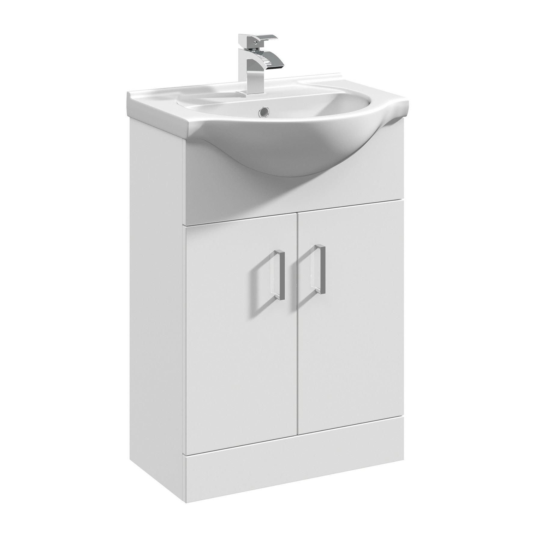 Gloss white bathroom vanity unit cloakroom cabinet - White gloss bathroom vanity unit ...