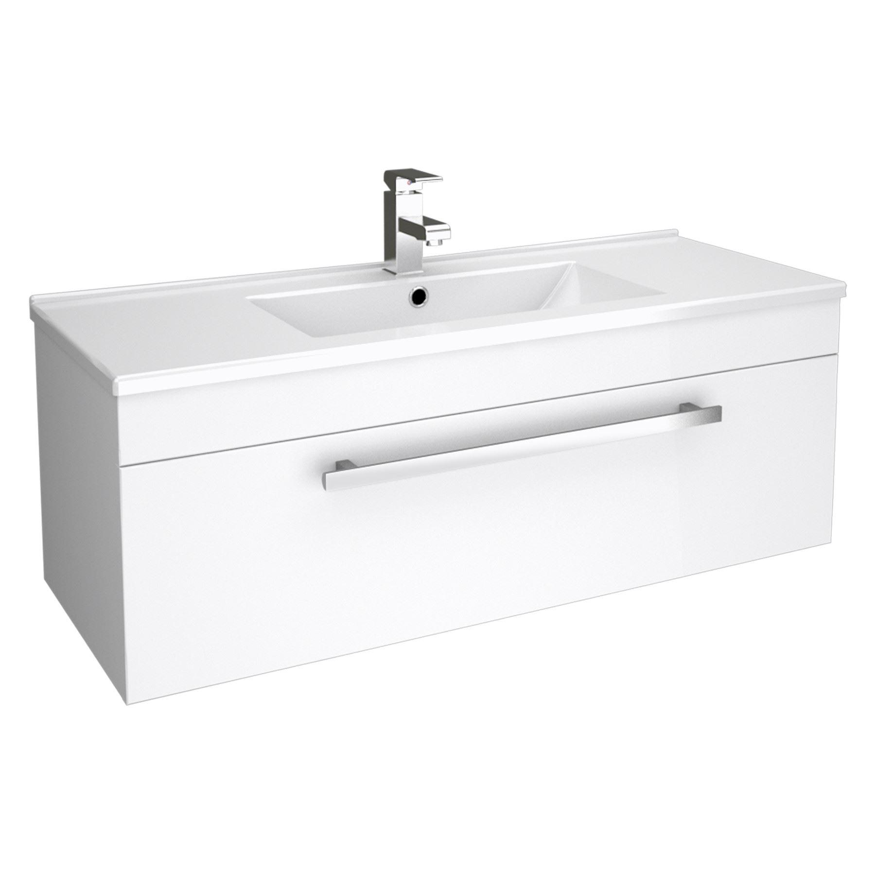 Bathroom Storage Wall Hung Vanity Unit Cloakroom Cabinet Dropdown Sink ...