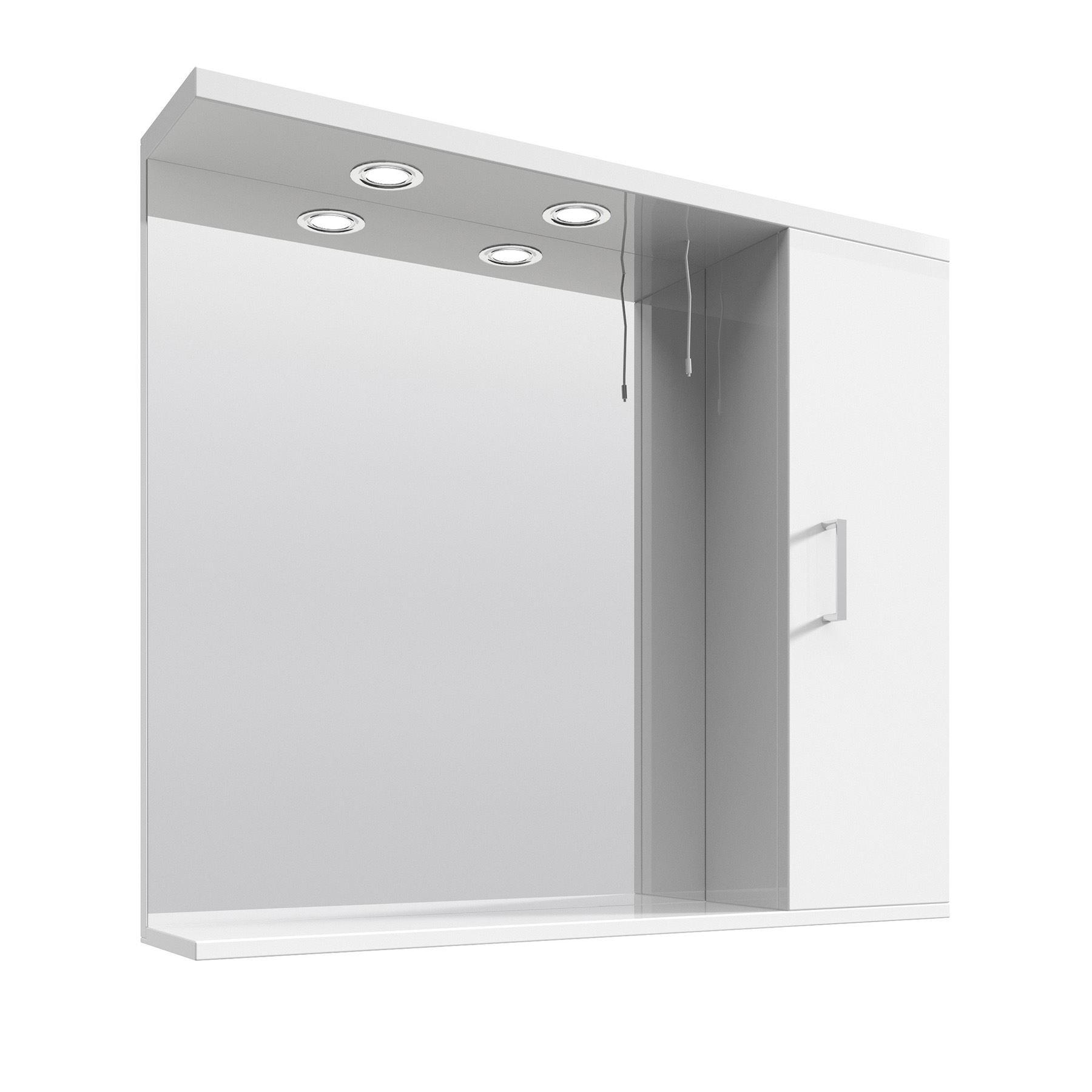 Illuminated high gloss white bathroom mirror vanity - Mirrored bathroom cabinet with lights ...