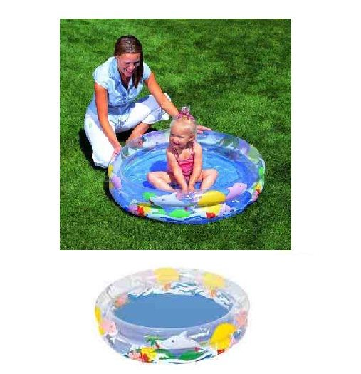 New bestway 2 ring baby toddler kids garden inflatable sea for Baby garden pool
