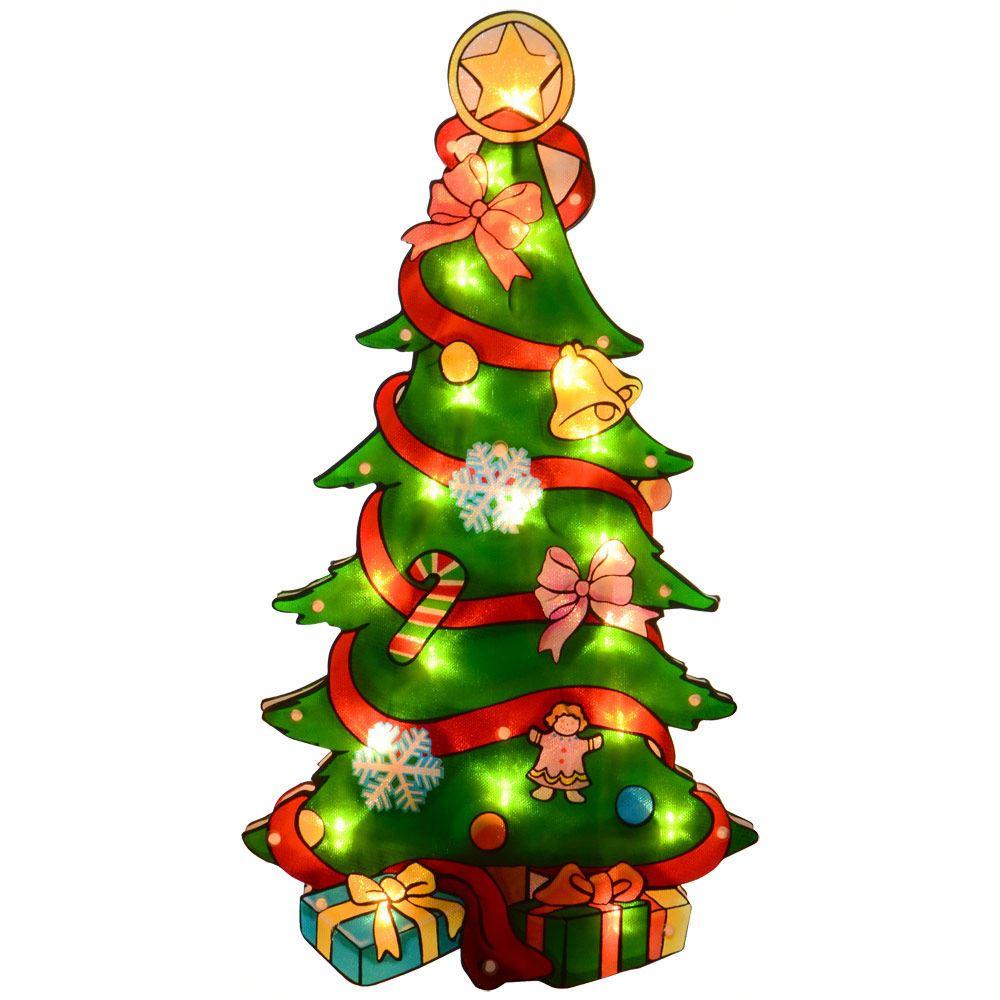 NewLight Up Metallic Santa Silhouette Indoor Christmas ...