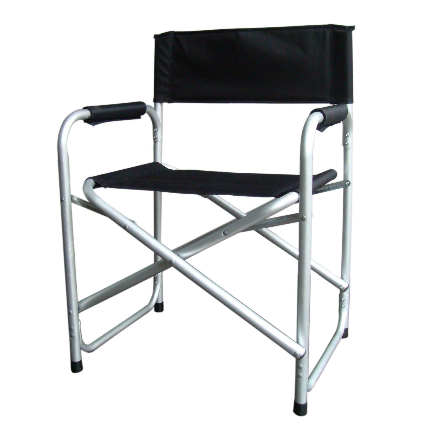 Black Lightweight Folding Directors Chair W Table Arms Camping Fishing Garde