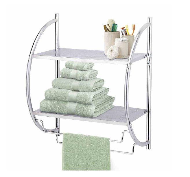 2 tier chrome wall mounted curved shower shelf bathroom - 2 tier bathroom shelf with towel bar ...
