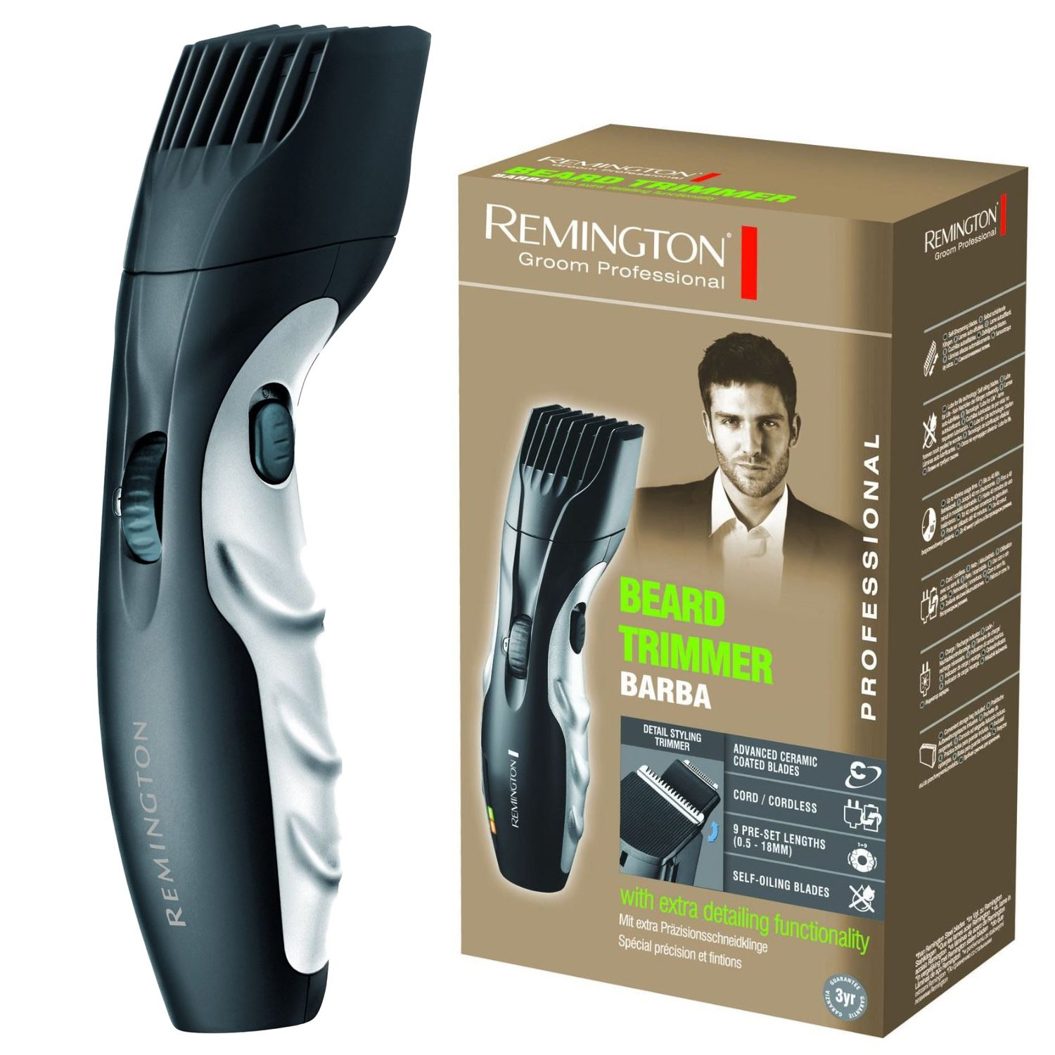 new remington mb320c barba beard trimmer cordless ceramic blades zoom wheel 4008496590087 ebay. Black Bedroom Furniture Sets. Home Design Ideas